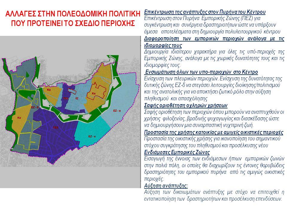 Επικέντρωση της ανάπτυξης στον Πυρήνα του Κέντρου Επικέντρωση στον Πυρήνα Εμπορικής Ζώνης (ΠΕΖ) για συγκέντρωση και συνέργεια δραστηριοτήτων ώστε να υπάρξουν άμεσα αποτελέσματα στη δημιουργία πολυλειτουργικού κέντρου Διαφοροποίηση των εμπορικών περιοχών ανάλογα με τις ιδιομορφίες τους Δημιουργία ιδιαίτερου χαρακτήρα για όλες τις υπό-περιοχές της Εμπορικής Ζώνης, ανάλογα με τις χωρικές δυνατότητες τους και τις ιδιομορφίες τους.