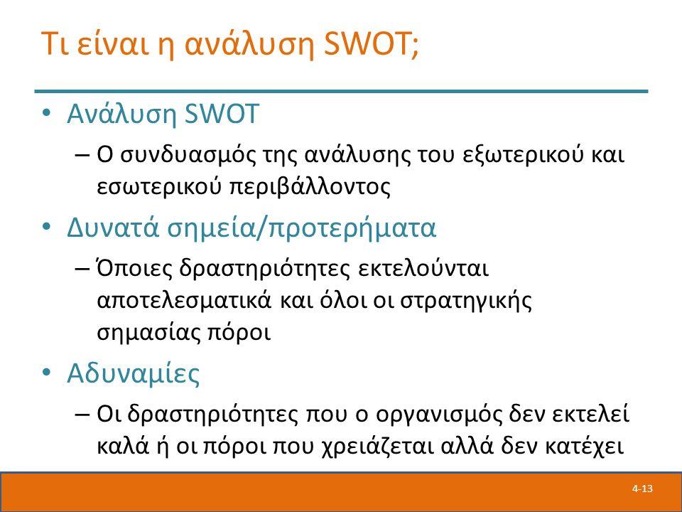 4-13 Τι είναι η ανάλυση SWOT; Ανάλυση SWOT – Ο συνδυασμός της ανάλυσης του εξωτερικού και εσωτερικού περιβάλλοντος Δυνατά σημεία/προτερήματα – Όποιες δραστηριότητες εκτελούνται αποτελεσματικά και όλοι οι στρατηγικής σημασίας πόροι Αδυναμίες – Οι δραστηριότητες που ο οργανισμός δεν εκτελεί καλά ή οι πόροι που χρειάζεται αλλά δεν κατέχει