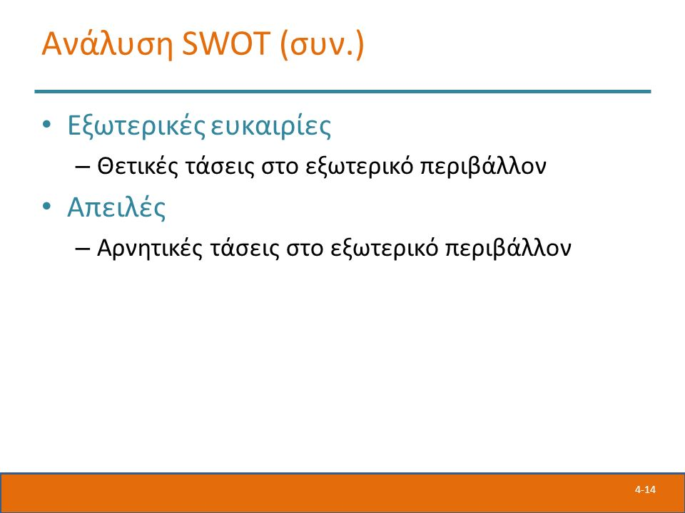 4-14 Ανάλυση SWOT (συν.) Εξωτερικές ευκαιρίες – Θετικές τάσεις στο εξωτερικό περιβάλλον Απειλές – Αρνητικές τάσεις στο εξωτερικό περιβάλλον