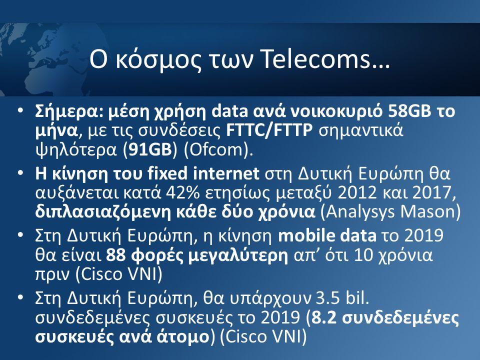 Ο κόσμος των Telecoms… Σήμερα: μέση χρήση data ανά νοικοκυριό 58GB το μήνα, με τις συνδέσεις FTTC/FTTP σημαντικά ψηλότερα (91GB) (Ofcom). Η κίνηση του