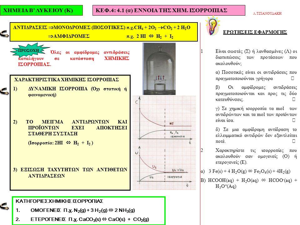ΧΗΜΕΙΑ Β' ΛΥΚΕΙΟΥ (Κ)ΚΕΦ.4: 4.1 (β) ΑΠΟΔΟΣΗ ΑΝΤΙΔΡΑΣΗΣ ΑΣΚΗΣΕΙΣ ΕΦΑΡΜΟΓΗΣ 3Σε δοχείο τοποθετήθηκαν 0,8 mol της ουσίας Α από τα οποία ένα μέρος διασπάσθηκε και έδωσε τα σώματα Β και Γ σύμφωνα με την αντίδραση Α  2Β + Γ.