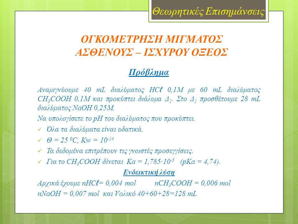 ΟΓΚΟΜΕΤΡΗΣΗ ΜΙΓΜΑΤΟΣ ΑΣΘΕΝΟΥΣ – ΙΣΧΥΡΟΥ ΟΞΕΟΣ Όργανα – Συσκευές  Usb-Link & αισθητήρας pH  Μαγνητικός αναδευτήρας  Προχοΐδα 50 mL  Ποτήρι ζέσεως 250 mL  Γυάλινο χωνί  Υδροβολέας Αντιδραστήρια  Διάλυμα HC ℓ 0,1M  Διάλυμα CH 3 COOH 0,1M  Διάλυμα NaOH 0,1M  Απεσταγμένο νερό Πείραμα