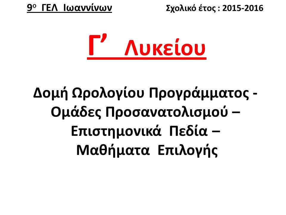 Για το νέο σχ.Έτος στη Γ΄ Λυκείου θα υπάρχουν (3) Ομάδες Προσανατολισμού (Ο.Π.)  Ο.Π.