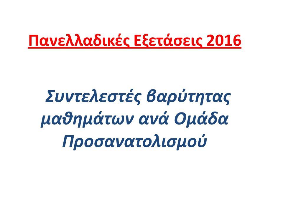 Πανελλαδικές Εξετάσεις 2016 Συντελεστές βαρύτητας μαθημάτων ανά Ομάδα Προσανατολισμού