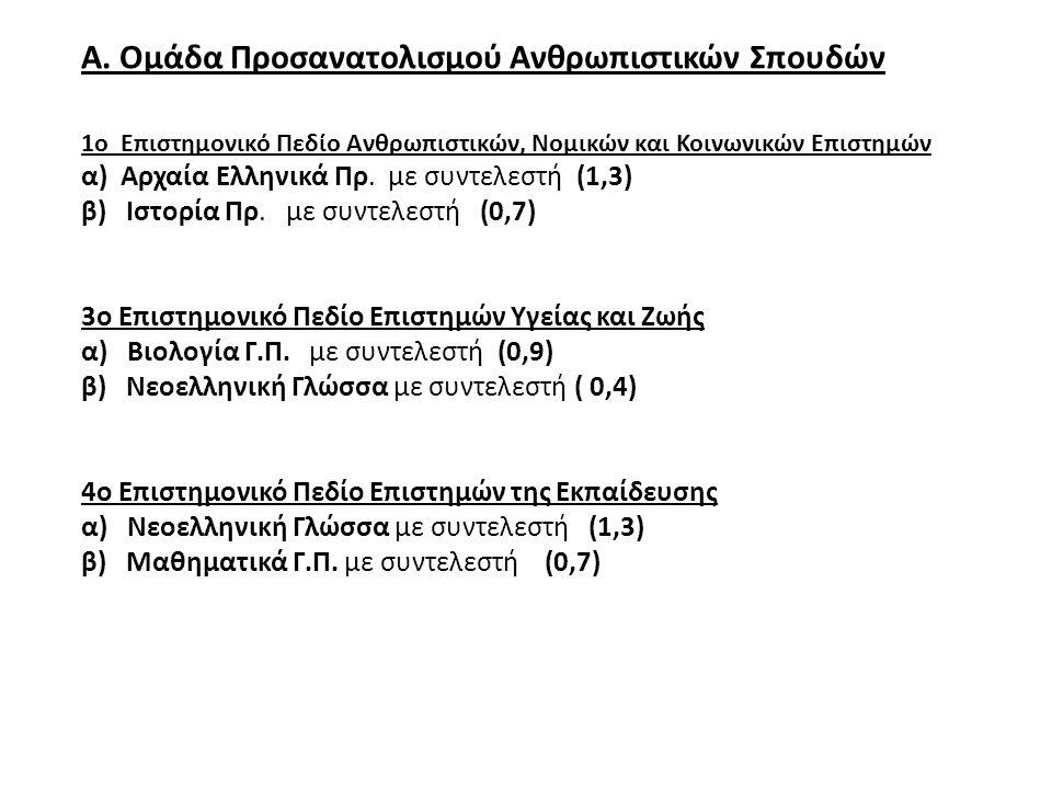 A. Ομάδα Προσανατολισμού Ανθρωπιστικών Σπουδών 1ο Επιστημονικό Πεδίο Ανθρωπιστικών, Νομικών και Κοινωνικών Επιστημών α) Αρχαία Ελληνικά Πρ. με συντελε