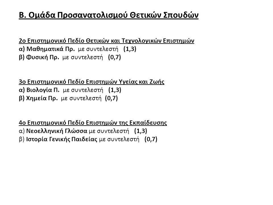Β. Ομάδα Προσανατολισμού Θετικών Σπουδών 2ο Επιστημονικό Πεδίο Θετικών και Τεχνολογικών Επιστημών α) Μαθηματικά Πρ. με συντελεστή (1,3) β) Φυσική Πρ.