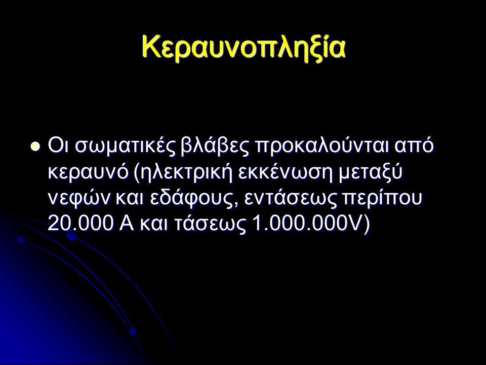Κεραυνοπληξία Οι σωματικές βλάβες προκαλούνται από κεραυνό (ηλεκτρική εκκένωση μεταξύ νεφών και εδάφους, εντάσεως περίπου 20.000 Α και τάσεως 1.000.000V) Οι σωματικές βλάβες προκαλούνται από κεραυνό (ηλεκτρική εκκένωση μεταξύ νεφών και εδάφους, εντάσεως περίπου 20.000 Α και τάσεως 1.000.000V)