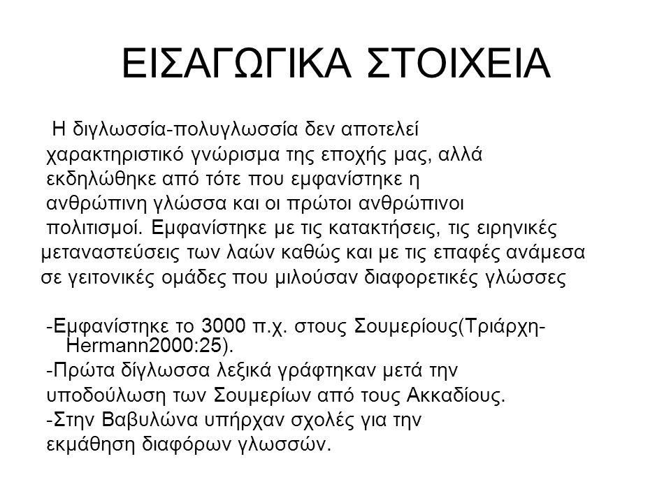 ΕΙΣΑΓΩΓΙΚΑ ΣΤΟΙΧΕΙΑ -Αρχαία Ελλάδα *Εκτός των διαλέκτων ομιλούνταν και άλλες ξένες γλώσσες όπως η φοινικική, περσική, αιγυπτιακή.