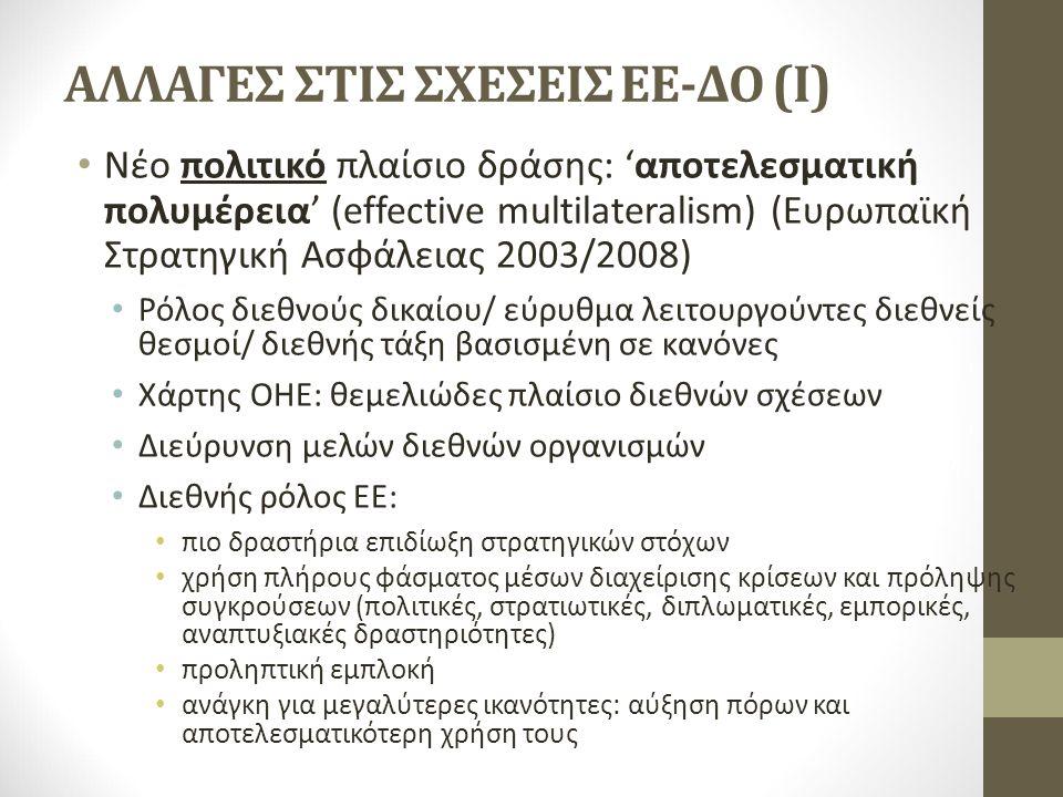 ΑΛΛΑΓΕΣ ΣΤΙΣ ΣΧΕΣΕΙΣ ΕΕ-ΔΟ (I) Νέο πολιτικό πλαίσιο δράσης: 'αποτελεσματική πολυμέρεια' (effective multilateralism) (Ευρωπαϊκή Στρατηγική Ασφάλειας 2003/2008) Ρόλος διεθνούς δικαίου/ εύρυθμα λειτουργούντες διεθνείς θεσμοί/ διεθνής τάξη βασισμένη σε κανόνες Χάρτης ΟΗΕ: θεμελιώδες πλαίσιο διεθνών σχέσεων Διεύρυνση μελών διεθνών οργανισμών Διεθνής ρόλος ΕΕ: πιο δραστήρια επιδίωξη στρατηγικών στόχων χρήση πλήρους φάσματος μέσων διαχείρισης κρίσεων και πρόληψης συγκρούσεων (πολιτικές, στρατιωτικές, διπλωματικές, εμπορικές, αναπτυξιακές δραστηριότητες) προληπτική εμπλοκή ανάγκη για μεγαλύτερες ικανότητες: αύξηση πόρων και αποτελεσματικότερη χρήση τους