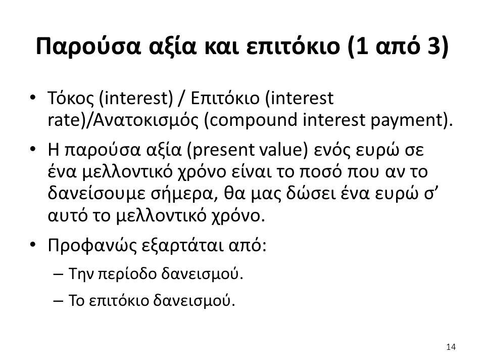 Παρούσα αξία και επιτόκιο (1 από 3) Τόκος (interest) / Επιτόκιο (interest rate)/Ανατοκισμός (compound interest payment). Η παρούσα αξία (present value