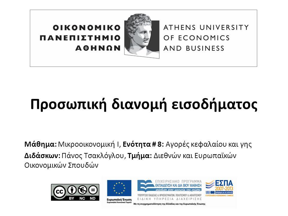 Μάθημα: Μικροοικονομική Ι, Ενότητα # 8: Αγορές κεφαλαίου και γης Διδάσκων: Πάνος Τσακλόγλου, Τμήμα: Διεθνών και Ευρωπαϊκών Οικονομικών Σπουδών Προσωπι