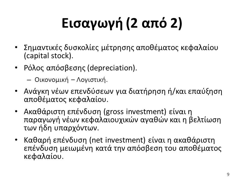 Εισαγωγή (2 από 2) Σημαντικές δυσκολίες μέτρησης αποθέματος κεφαλαίου (capital stock). Ρόλος απόσβεσης (depreciation). – Οικονομική – Λογιστική. Ανάγκ