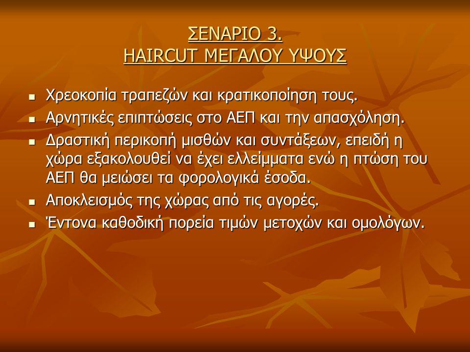 ΣΕΝΑΡΙΟ 3. HAIRCUT ΜΕΓΑΛΟΥ ΥΨΟΥΣ Χρεοκοπία τραπεζών και κρατικοποίηση τους.