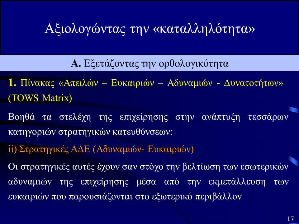 Αξιολογώντας την «καταλληλότητα» 16 Α. Εξετάζοντας την ορθολογικότητα 1.