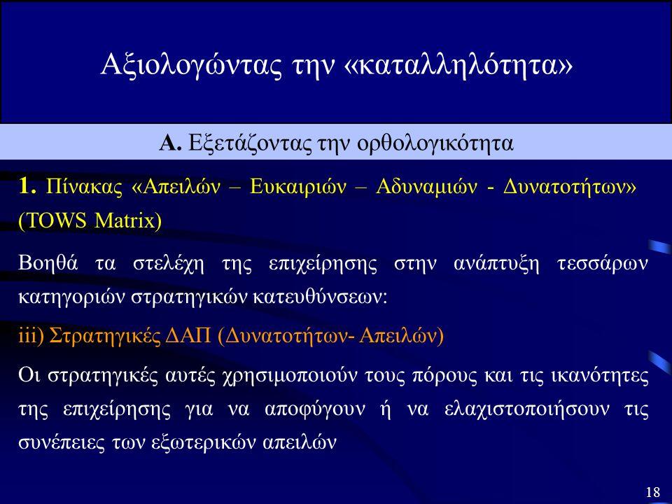 Αξιολογώντας την «καταλληλότητα» 17 Α. Εξετάζοντας την ορθολογικότητα 1.