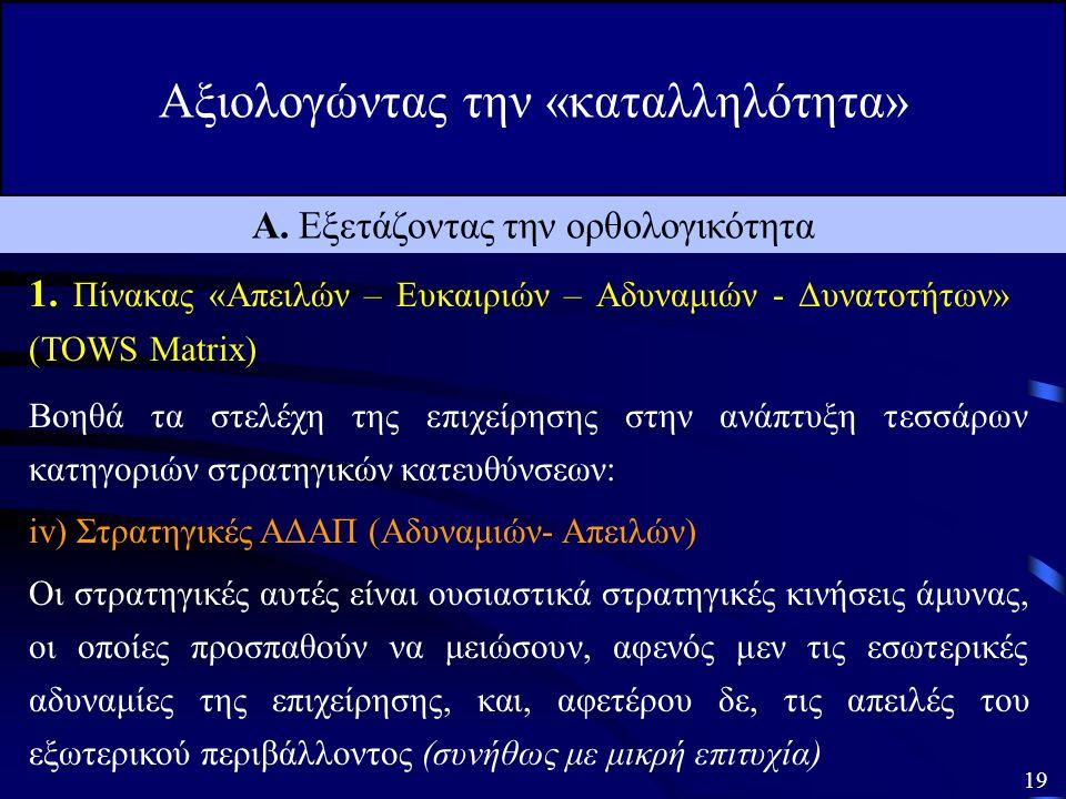 Αξιολογώντας την «καταλληλότητα» 18 Α. Εξετάζοντας την ορθολογικότητα 1.