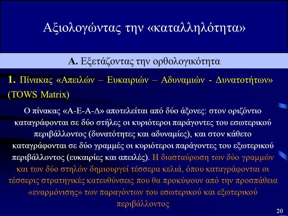 Αξιολογώντας την «καταλληλότητα» 19 Α. Εξετάζοντας την ορθολογικότητα 1.