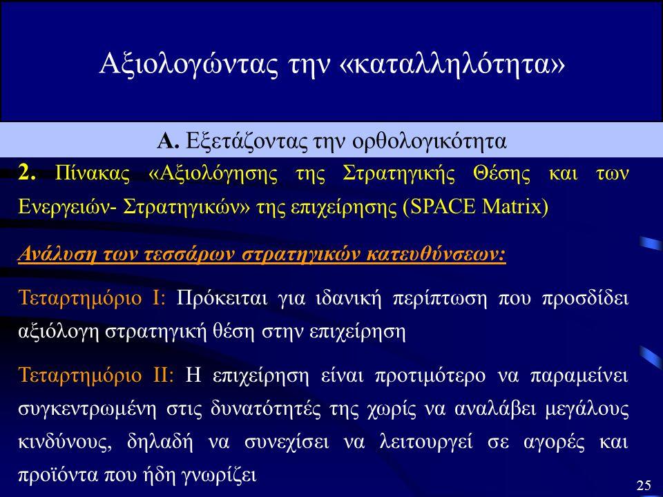 Αξιολογώντας την «καταλληλότητα» 24 Α. Εξετάζοντας την ορθολογικότητα 2.