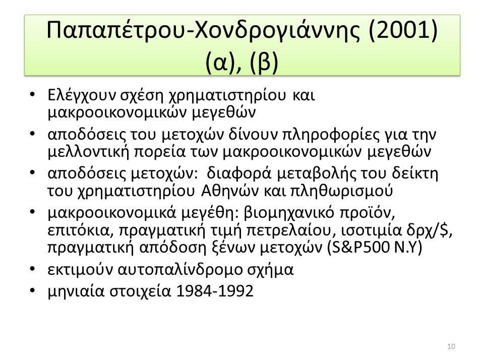 Παπαπέτρου-Χονδρογιάννης (2001) (α), (β) Ελέγχουν σχέση χρηματιστηρίου και μακροοικονομικών μεγεθών αποδόσεις του μετοχών δίνουν πληροφορίες για την μελλοντική πορεία των μακροοικονομικών μεγεθών αποδόσεις μετοχών: διαφορά μεταβολής του δείκτη του χρηματιστηρίου Αθηνών και πληθωρισμού μακροοικονομικά μεγέθη: βιομηχανικό προϊόν, επιτόκια, πραγματική τιμή πετρελαίου, ισοτιμία δρχ/$, πραγματική απόδοση ξένων μετοχών (S&Ρ500 Ν.Υ) εκτιμούν αυτοπαλίνδρομο σχήμα μηνιαία στοιχεία 1984-1992 10
