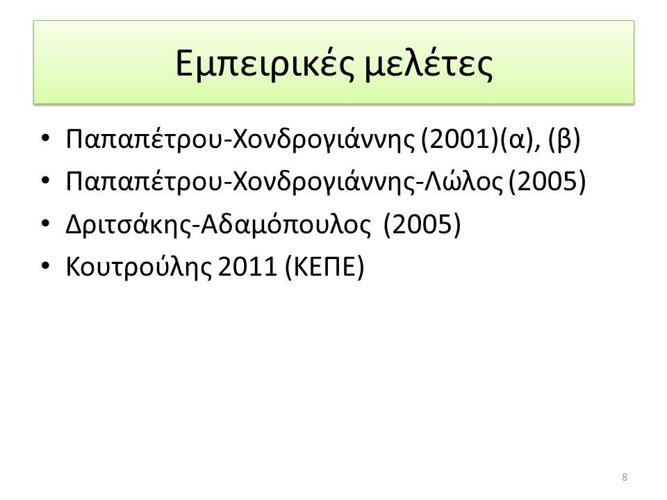 Εμπειρικές μελέτες Παπαπέτρου-Χονδρογιάννης (2001)(α), (β) Παπαπέτρου-Χονδρογιάννης-Λώλος (2005) Δριτσάκης-Αδαμόπουλος (2005) Κουτρούλης 2011 (ΚΕΠΕ) 8