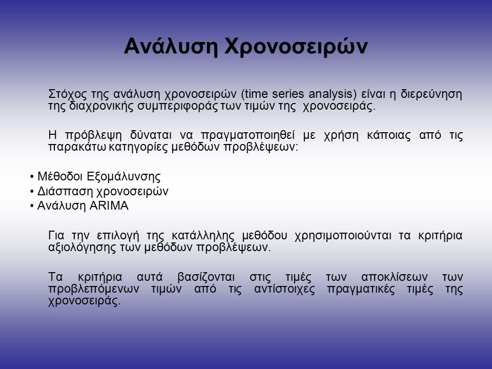 Ανάλυση Χρονοσειρών Στόχος της ανάλυση χρονοσειρών (time series analysis) είναι η διερεύνηση της διαχρονικής συμπεριφοράς των τιμών της χρονοσειράς.