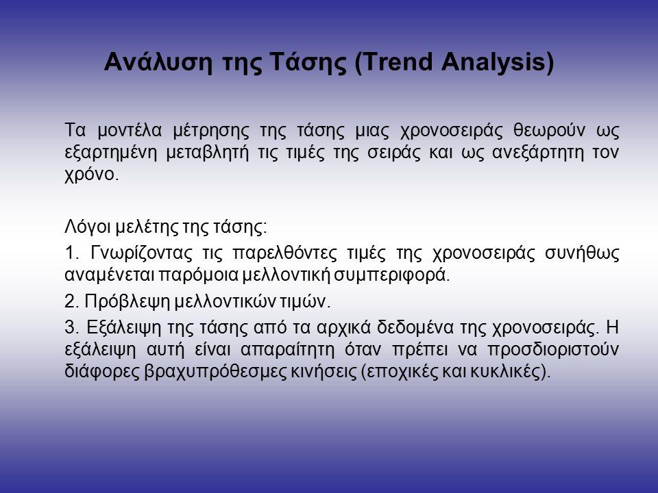 Ανάλυση της Τάσης (Trend Analysis) Τα μοντέλα μέτρησης της τάσης μιας χρονοσειράς θεωρούν ως εξαρτημένη μεταβλητή τις τιμές της σειράς και ως ανεξάρτητη τον χρόνο.