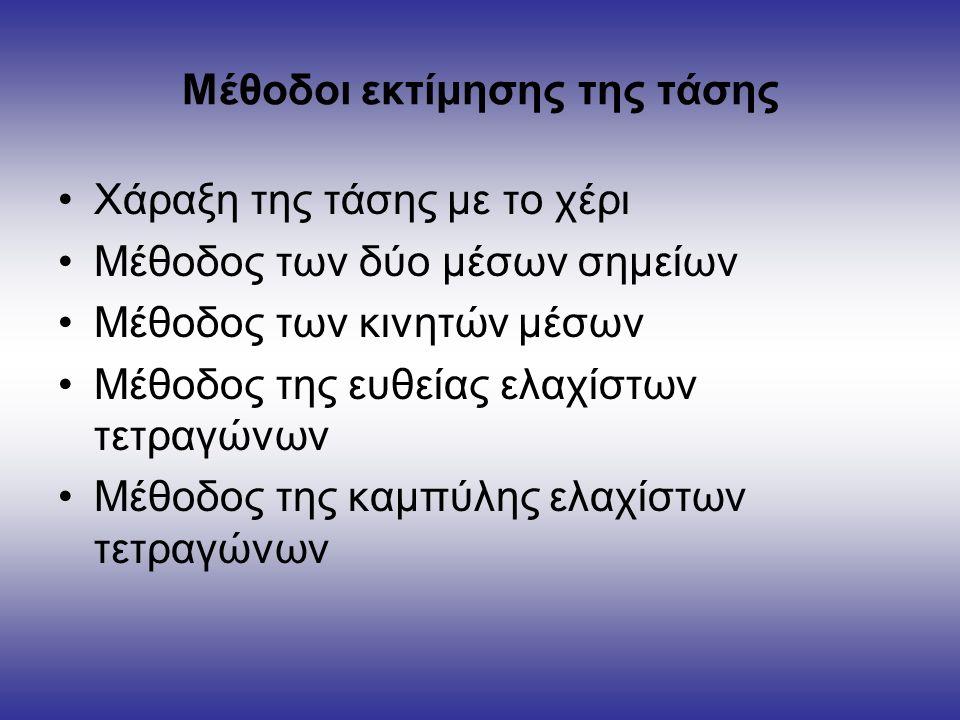 Μέθοδοι εκτίμησης της τάσης Χάραξη της τάσης με το χέρι Μέθοδος των δύο μέσων σημείων Μέθοδος των κινητών μέσων Μέθοδος της ευθείας ελαχίστων τετραγώνων Μέθοδος της καμπύλης ελαχίστων τετραγώνων