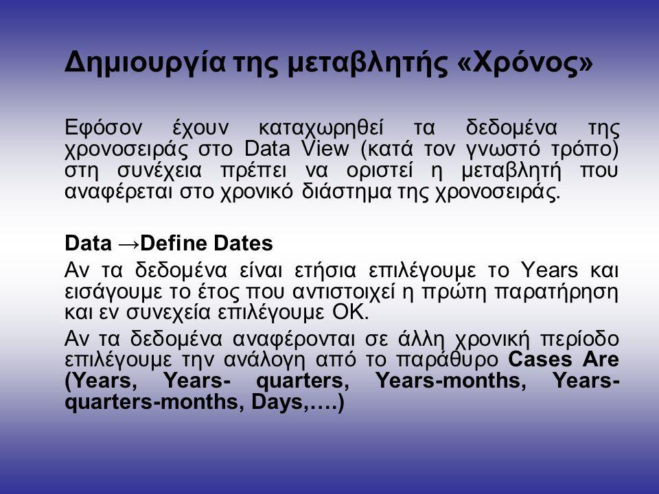 Δημιουργία της μεταβλητής «Χρόνος» Εφόσον έχουν καταχωρηθεί τα δεδομένα της χρονοσειράς στο Data View (κατά τον γνωστό τρόπο) στη συνέχεια πρέπει να οριστεί η μεταβλητή που αναφέρεται στο χρονικό διάστημα της χρονοσειράς.