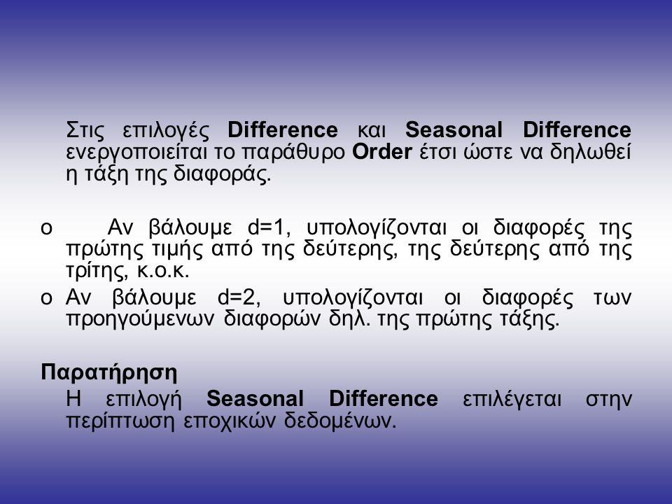 Στις επιλογές Difference και Seasonal Difference ενεργοποιείται το παράθυρο Order έτσι ώστε να δηλωθεί η τάξη της διαφοράς.