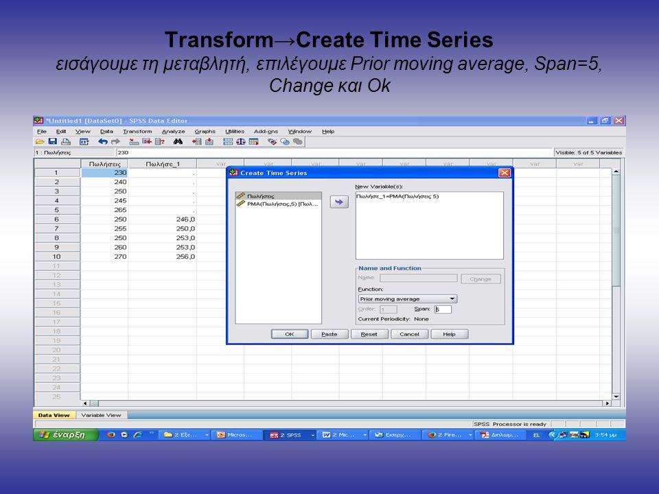 Transform→Create Time Series εισάγουμε τη μεταβλητή, επιλέγουμε Prior moving average, Span=5, Change και Ok