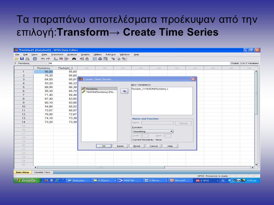 Τα παραπάνω αποτελέσματα προέκυψαν από την επιλογή:Transform→ Create Time Series