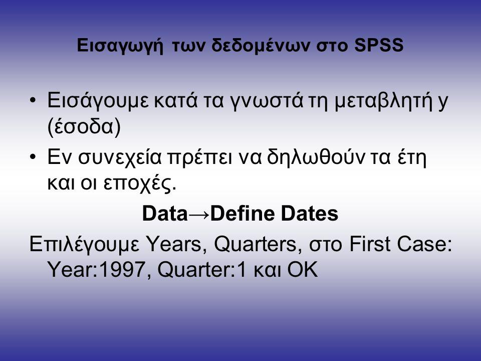 Εισαγωγή των δεδομένων στο SPSS Εισάγουμε κατά τα γνωστά τη μεταβλητή y (έσοδα) Εν συνεχεία πρέπει να δηλωθούν τα έτη και οι εποχές.