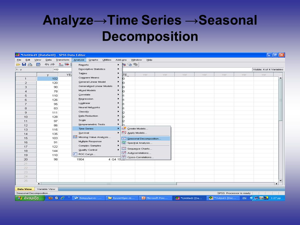 Analyze→Time Series →Seasonal Decomposition