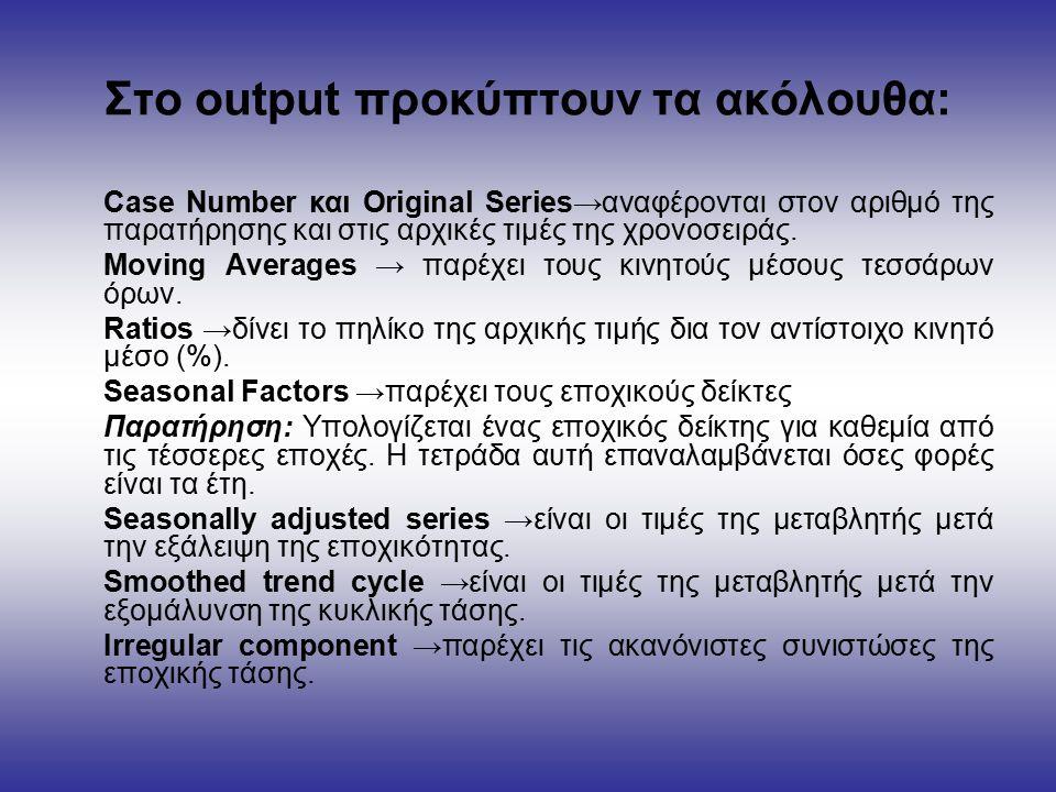 Στο output προκύπτουν τα ακόλουθα: Case Number και Original Series→αναφέρονται στον αριθμό της παρατήρησης και στις αρχικές τιμές της χρονοσειράς.