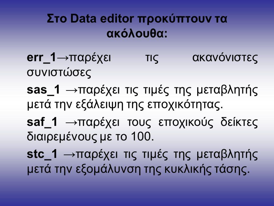 Στο Data editor προκύπτουν τα ακόλουθα: err_1→παρέχει τις ακανόνιστες συνιστώσες sas_1 →παρέχει τις τιμές της μεταβλητής μετά την εξάλειψη της εποχικότητας.