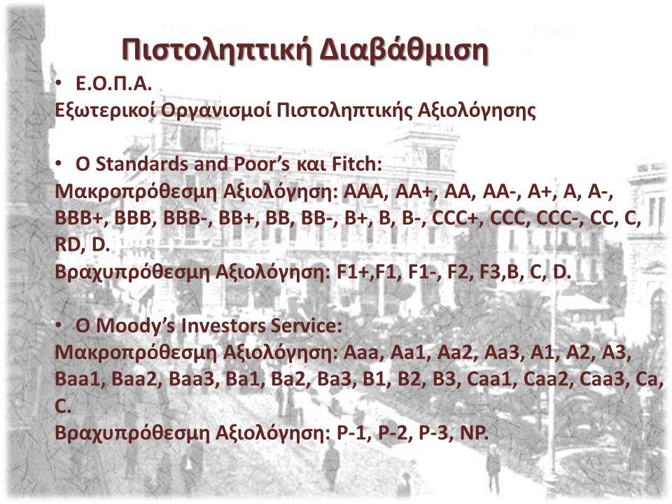 Ε.Ο.Π.Α. Εξωτερικοί Οργανισμοί Πιστοληπτικής Αξιολόγησης O Standards and Poor's και Fitch: Μακροπρόθεσμη Αξιολόγηση: AAA, AA+, AA, AA-, A+, A, A-, BBB