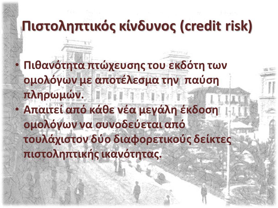 Πιστοληπτικός κίνδυνος (credit risk) Πιθανότητα πτώχευσης του εκδότη των ομολόγων με αποτέλεσμα την παύση πληρωμών. Απαιτεί από κάθε νέα μεγάλη έκδοση