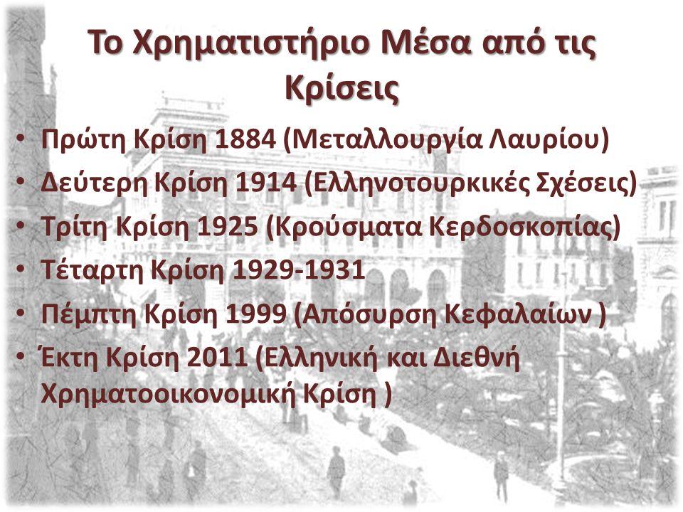 Το Χρηματιστήριο Μέσα από τις Κρίσεις Πρώτη Κρίση 1884 (Μεταλλουργία Λαυρίου) Δεύτερη Κρίση 1914 (Ελληνοτουρκικές Σχέσεις) Τρίτη Κρίση 1925 (Κρούσματα