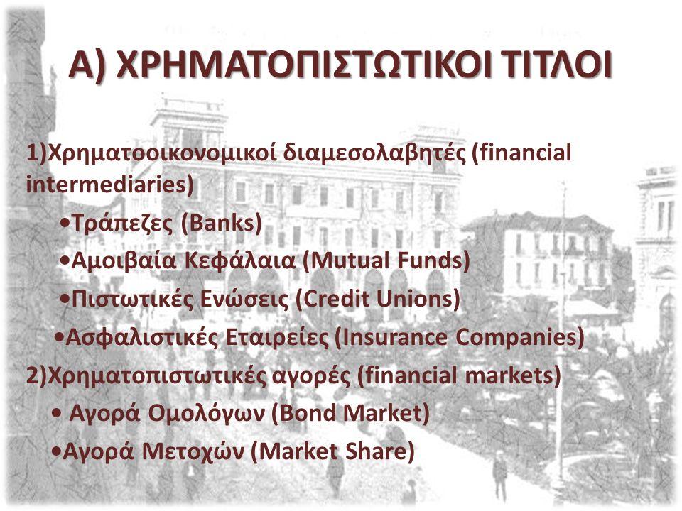 A) ΧΡΗΜΑΤΟΠΙΣΤΩΤΙΚΟΙ ΤΙΤΛΟΙ 1)Χρηματοοικονομικοί διαμεσολαβητές (financial intermediaries) Τράπεζες (Banks) Αμοιβαία Κεφάλαια (Mutual Funds) Πιστωτικές Ενώσεις (Credit Unions) Ασφαλιστικές Εταιρείες (Insurance Companies) 2)Χρηματοπιστωτικές αγορές (financial markets) Αγορά Ομολόγων (Bond Market) Αγορά Μετοχών (Market Share)