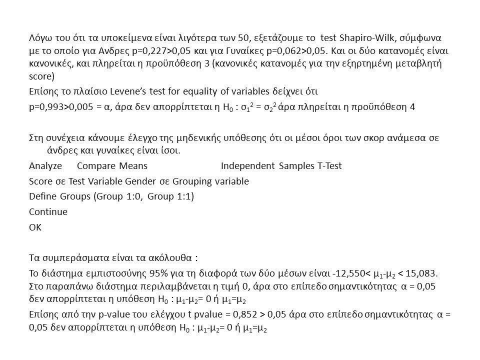 Λόγω του ότι τα υποκείμενα είναι λιγότερα των 50, εξετάζουμε το test Shapiro-Wilk, σύμφωνα με το οποίο για Ανδρες p=0,227>0,05 και για Γυναίκες p=0,062>0,05.