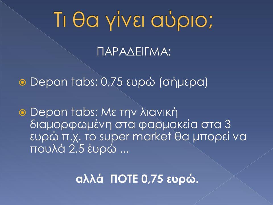 ΠΑΡΑΔΕΙΓΜΑ:  Depon tabs: 0,75 ευρώ (σήμερα)  Depon tabs: Με την λιανική διαμορφωμένη στα φαρμακεία στα 3 ευρώ π.χ.
