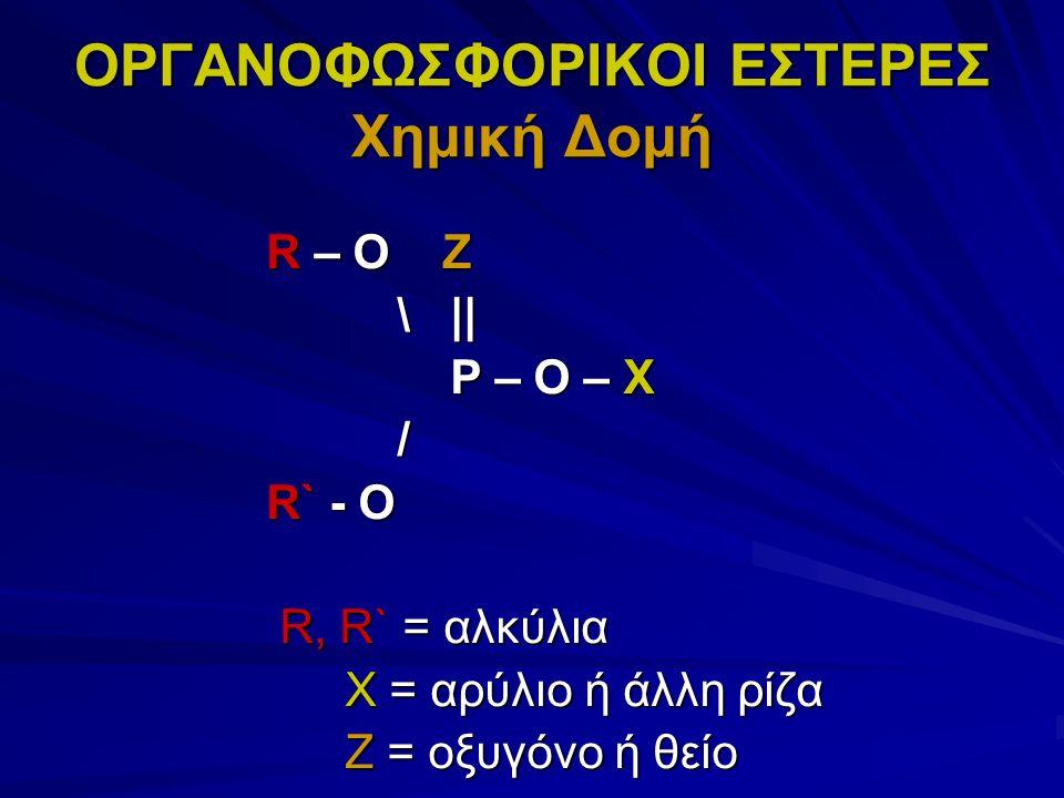 ΟΡΓΑΝΟΦΩΣΦΟΡΙΚΟΙ ΕΣΤΕΡΕΣ Χημική Δομή R – O Z \ || \ || P – O – X P – O – X / R` - O R, R` = αλκύλια R, R` = αλκύλια X = αρύλιο ή άλλη ρίζα X = αρύλιο ή άλλη ρίζα Z = οξυγόνο ή θείο Z = οξυγόνο ή θείο