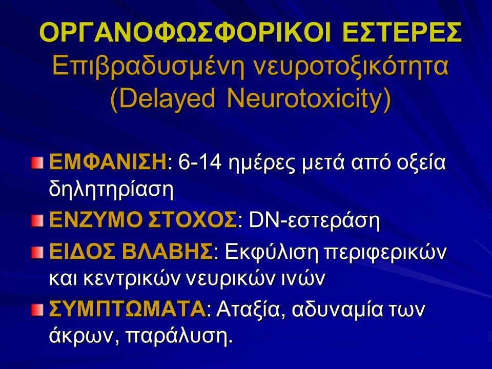 ΟΡΓΑΝΟΦΩΣΦΟΡΙΚΟΙ ΕΣΤΕΡΕΣ Επιβραδυσμένη νευροτοξικότητα (Delayed Neurotoxicity) ΕΜΦΑΝΙΣΗ: 6-14 ημέρες μετά από οξεία δηλητηρίαση ΕΝΖΥΜΟ ΣΤΟΧΟΣ: DN-εστεράση ΕΙΔΟΣ ΒΛΑΒΗΣ: Εκφύλιση περιφερικών και κεντρικών νευρικών ινών ΣΥΜΠΤΩΜΑΤΑ: Αταξία, αδυναμία των άκρων, παράλυση.