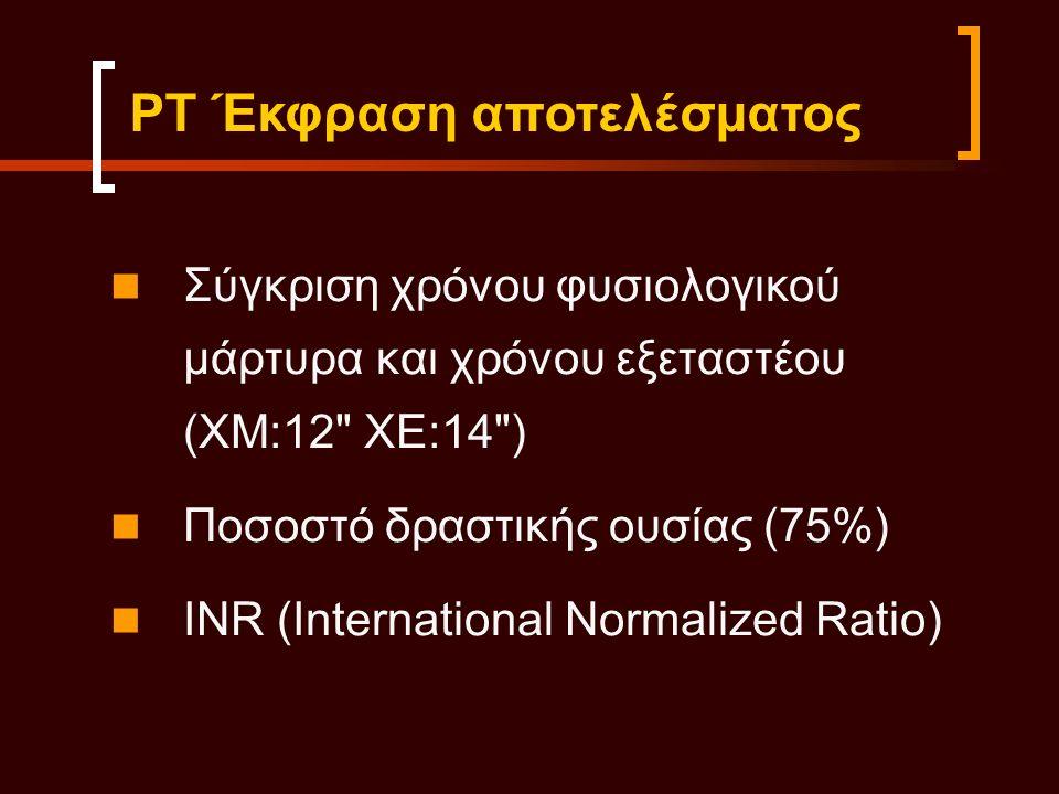 Σύγκριση χρόνου φυσιολογικού μάρτυρα και χρόνου εξεταστέου (ΧΜ:12 ΧΕ:14 ) Ποσοστό δραστικής ουσίας (75%) INR (International Normalized Ratio) ΡΤ Έκφραση αποτελέσματος