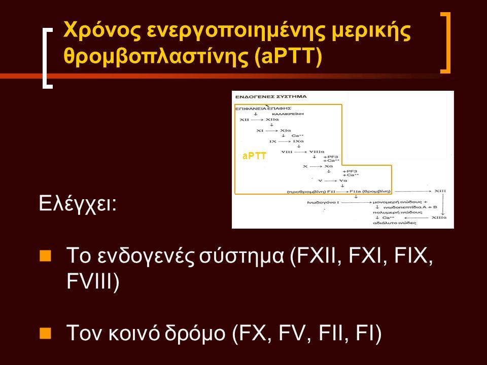 Ελέγχει: Το ενδογενές σύστημα (FXII, FXI, FIX, FVIII) Τον κοινό δρόμο (FX, FV, FII, FI) Χρόνος ενεργοποιημένης μερικής θρομβοπλαστίνης (aPTT) aPTT