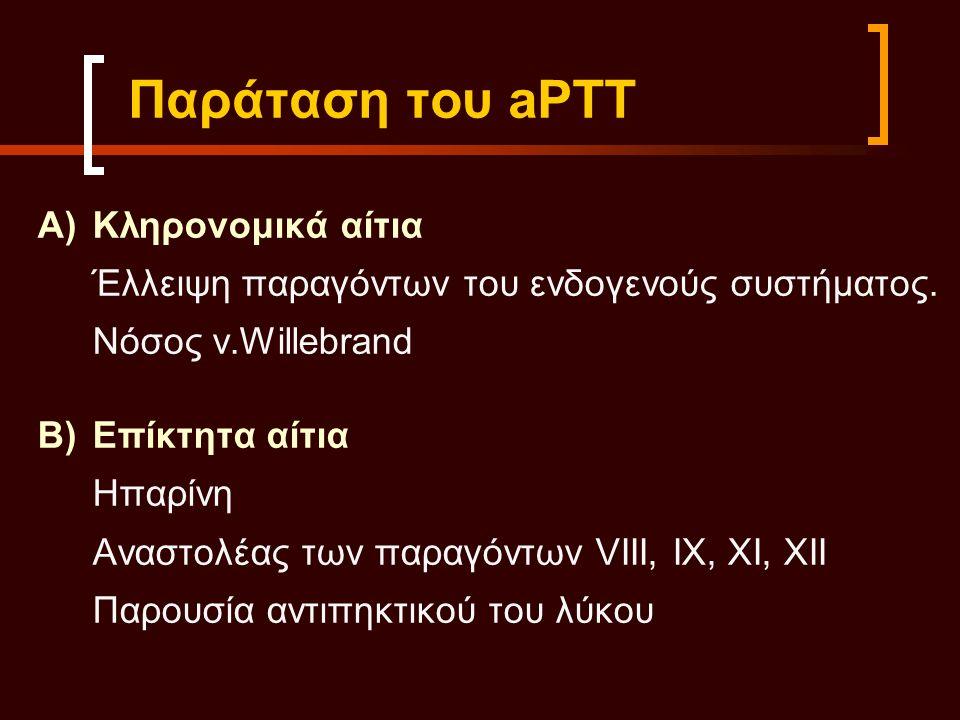 Παράταση του aPTT Α)Κληρονομικά αίτια Έλλειψη παραγόντων του ενδογενούς συστήματος.