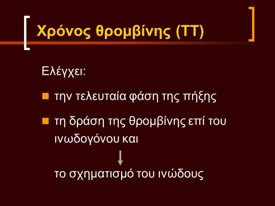 Ελέγχει: την τελευταία φάση της πήξης τη δράση της θρομβίνης επί του ινωδογόνου και το σχηματισμό του ινώδους Χρόνος θρομβίνης (ΤΤ)