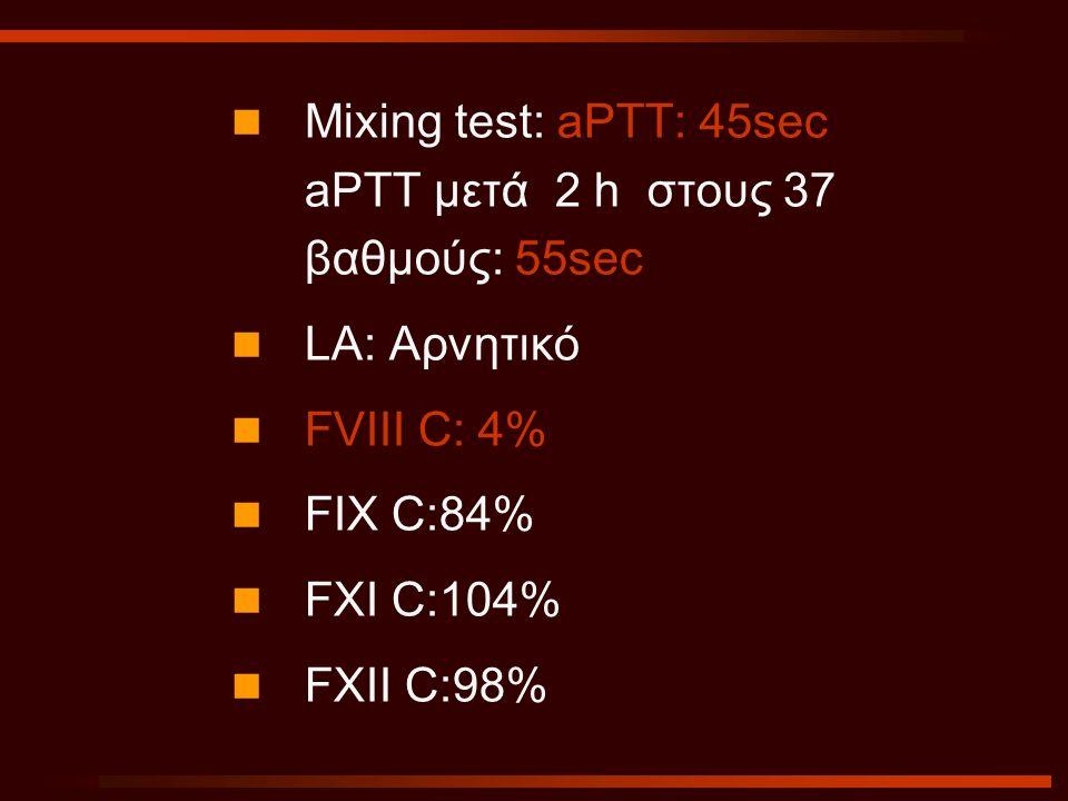 Mixing test: aPTT: 45sec aPTT μετά 2 h στους 37 βαθμούς: 55sec LA: Αρνητικό FVIII C: 4% FIX C:84% FXI C:104% FXII C:98%