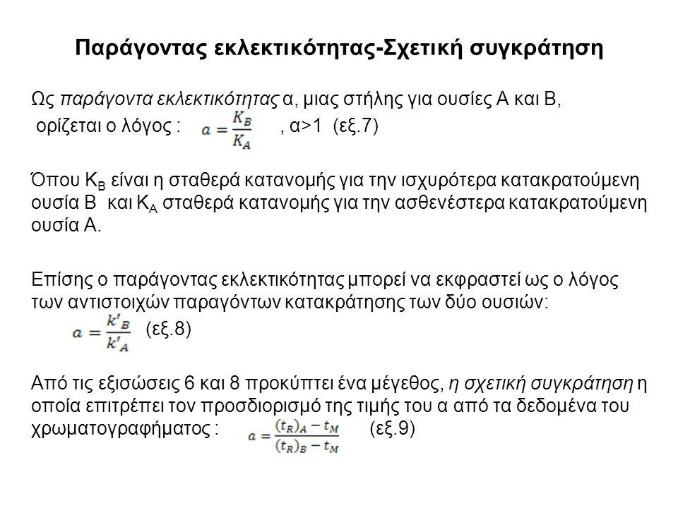 Παράγοντας εκλεκτικότητας-Σχετική συγκράτηση Ως παράγοντα εκλεκτικότητας α, μιας στήλης για ουσίες Α και Β, ορίζεται ο λόγος :, α>1 (εξ.7) Όπου Κ Β είναι η σταθερά κατανομής για την ισχυρότερα κατακρατούμενη ουσία Β και Κ Α σταθερά κατανομής για την ασθενέστερα κατακρατούμενη ουσία Α.