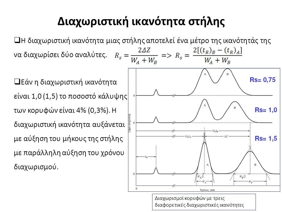 Διαχωριστική ικανότητα στήλης  Η διαχωριστική ικανότητα μιας στήλης αποτελεί ένα μέτρο της ικανότητάς της να διαχωρίσει δύο αναλύτες.